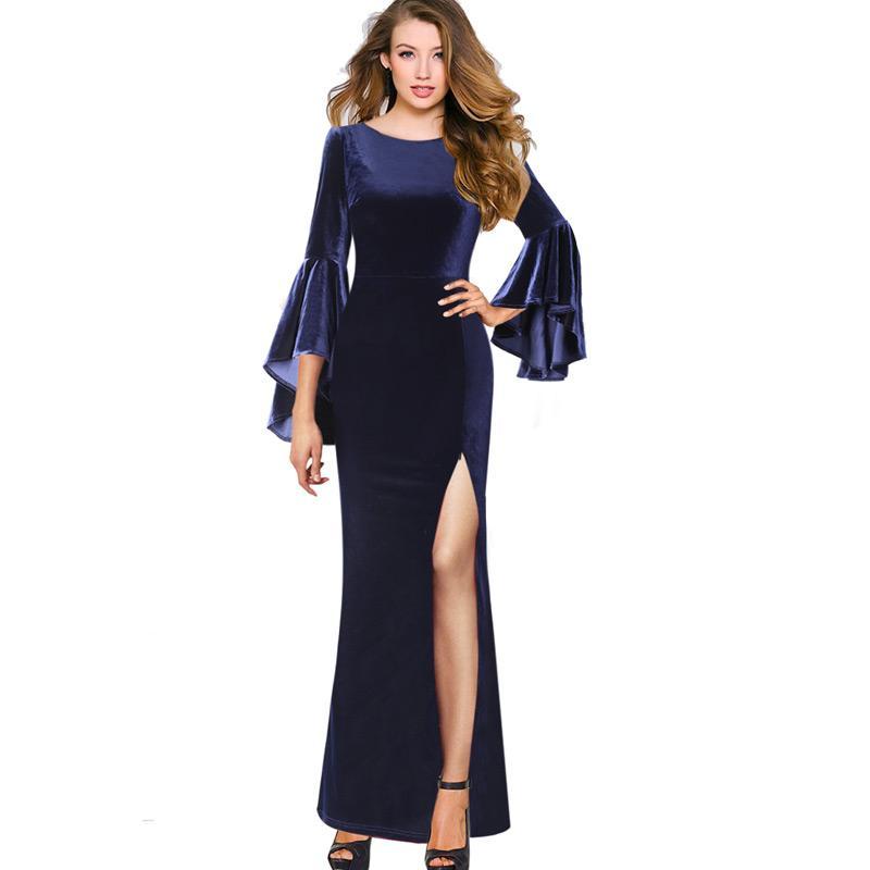 Vfemage das mulheres outono inverno elegante plissado flare sino manga de veludo de alta fenda festa à noite formal bodycon maxi longo dress 1061