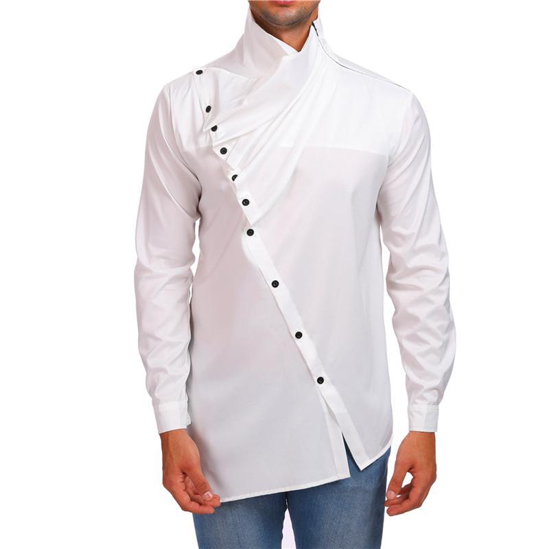 Camicie casual da uomo Uomo Design Irregolare Design Inclind Button Camicia a maniche lunghe Black Black Bianco Rosso Pieghettato Camicetta Night Club Stage Costume