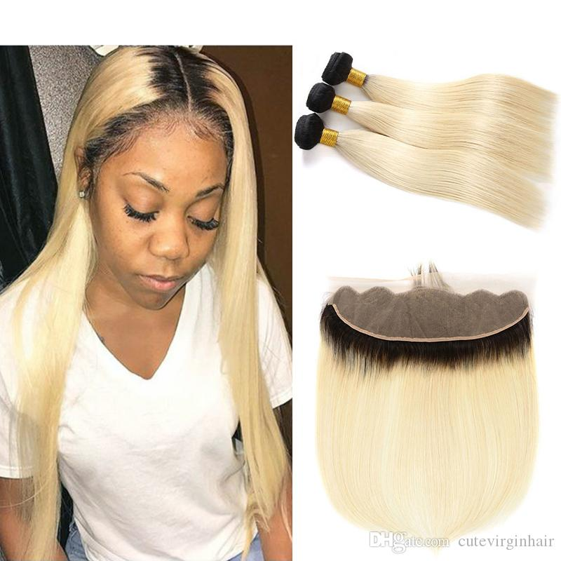 Ombre Color 1B 613 Straight 3 Bundles With 13x4 Lace Frontal Dark Roots Blonde Human Hair Weaves Frontal and Bundles for Black Women