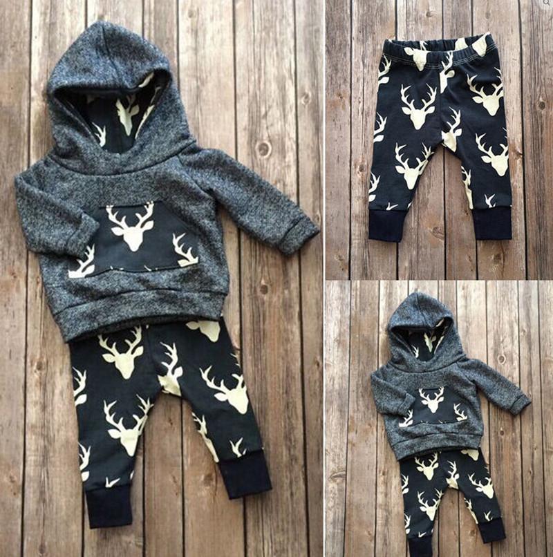 2019 осень мальчиков одежда хлопок с длинным рукавом олень толстовка пальто + брюки дети 2 шт. костюм мальчик одежда наборы детская одежда V191206