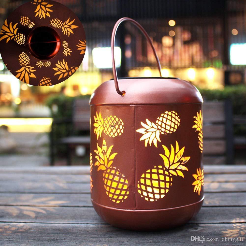 매달려 태양 조명 정원, 마당, 안뜰, 잔디에 대 한 핸들 램프와 파인애플 장식 야외 태양 손전등