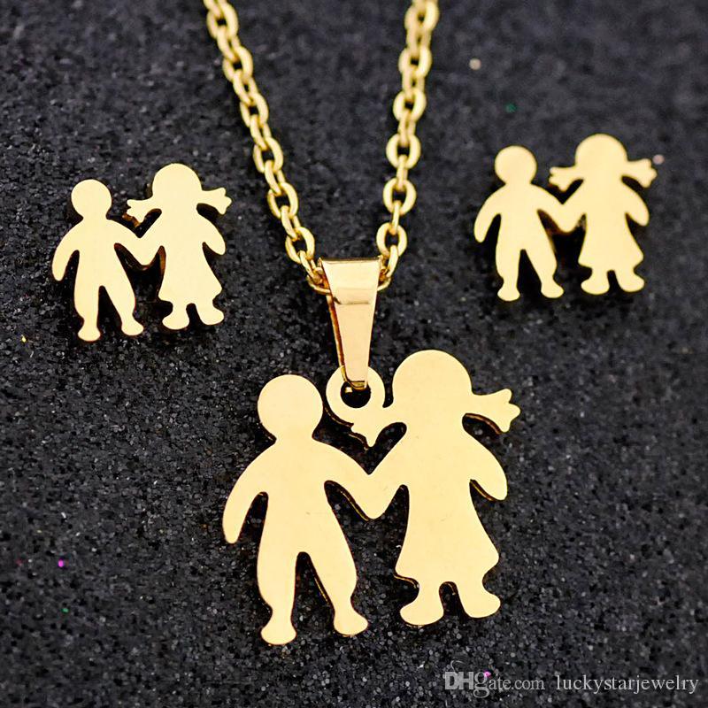fashion boy and girl pendant stainless steel jewelry set ,joyas de acero inoxidable,joyas de acero,women joyeria