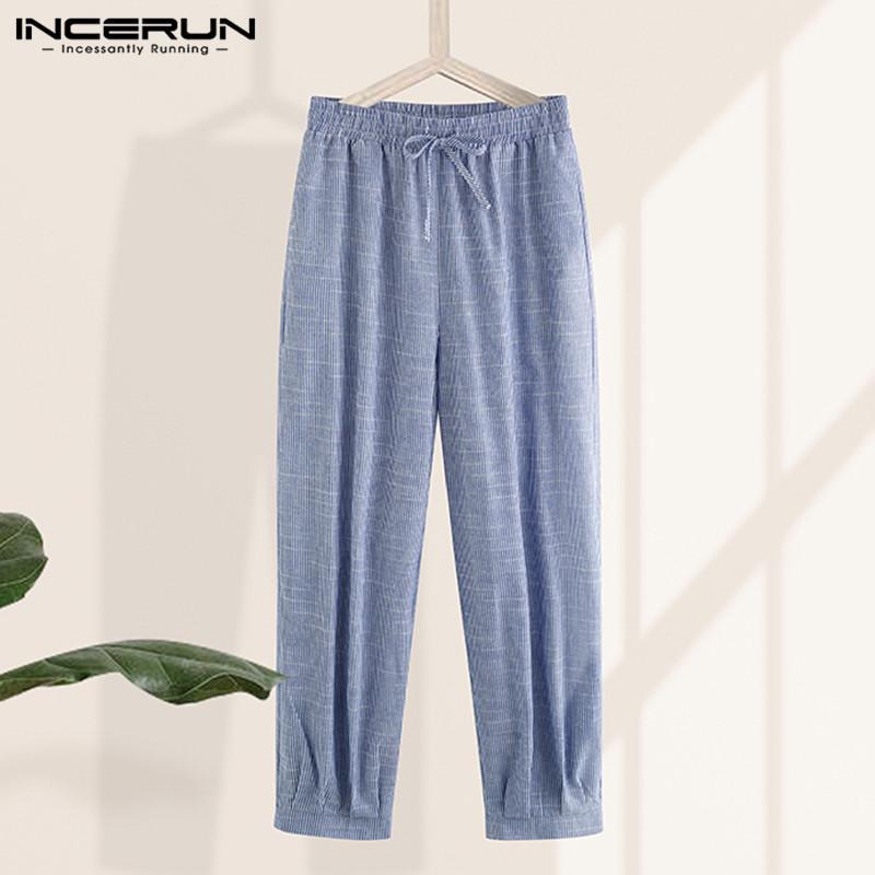 Men Striped Pants Retro Drawstring Baggy Joggers 2020 Vintage Wide Leg Trousers Men Casual Pantalones Hombre Homewear INCERUN