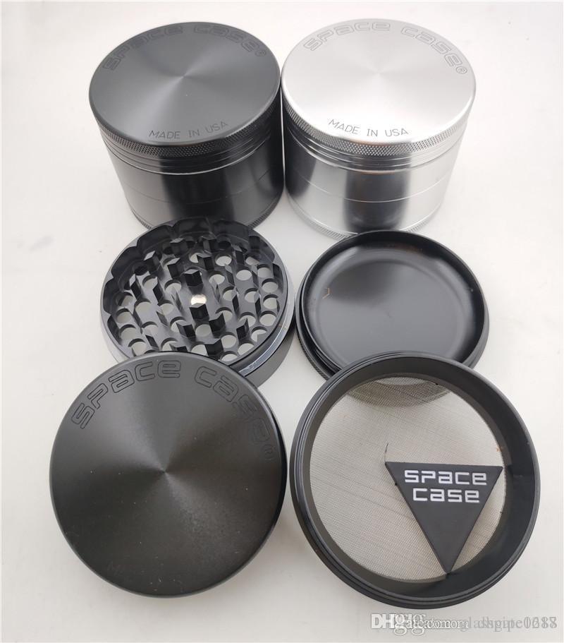 DHL-freies 63mm 4pc CNC Aluminium Space Fall Grinder Tabakrauch Zigarettendetektor Schleifrauchtabak grinder VS Zinklegierung grinder