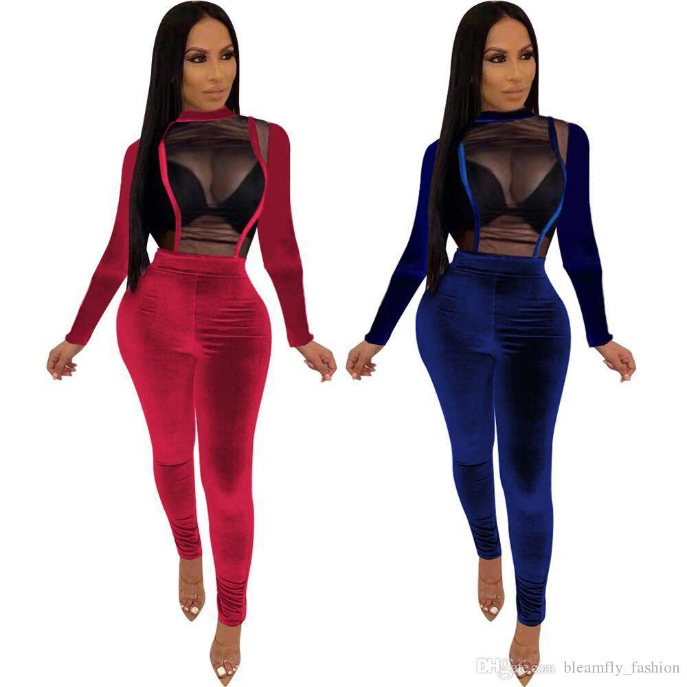 Seksi Mesh Şeffaf Kadife BODYCON Tulumlar İçin Kadınlar Partisi Kulübü tulumları Tek Parça tulum Kıyafet Uzun Kollu tulum Jumpsuit