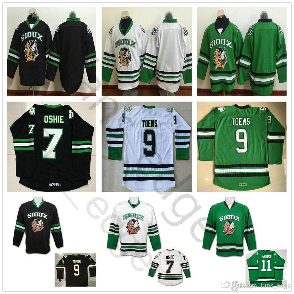 Günstige Herren Vintage-North Dakota Kampf Sioux College-Hockey Jerseys 9 Jonathan Toews 11 Zach Parise 7 TJ Oshie Universität genähtes Hemd
