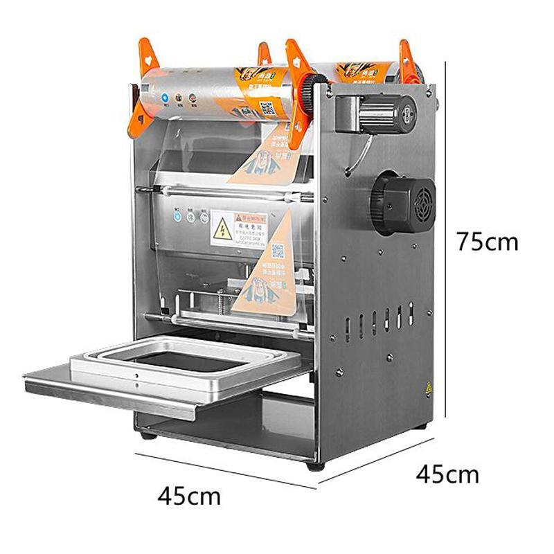 Conservation des aliments cuits Boîte d'étanchéité machine 220 V Boîte à lunch machine d'emballage entièrement automatique avec le positionnement du curseur machine d'étanchéité produit