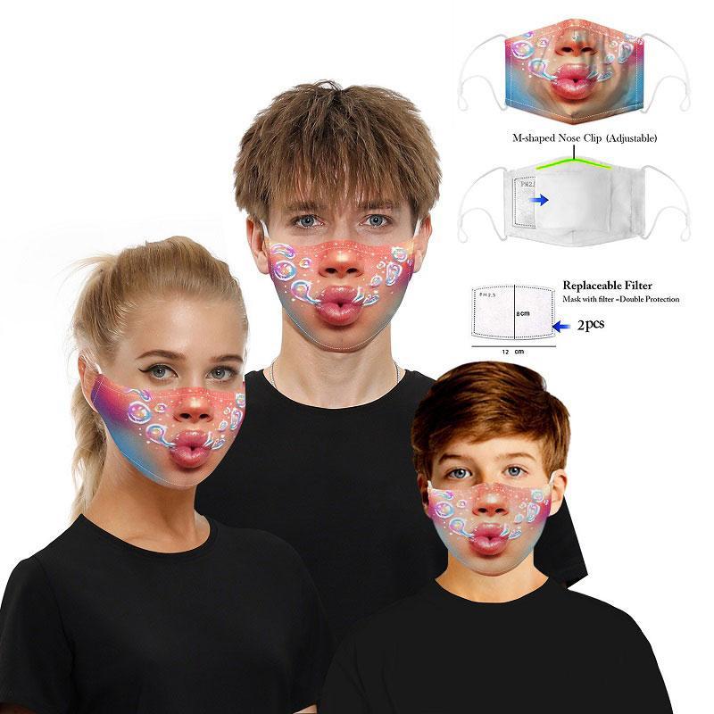 Com 2pcs PM2.5 substituível filtros reutilizáveis Boca Imprimir Máscara de algodão lavável respirável Dustproof Máscaras Anti-fog PM2.5 Partido Protective