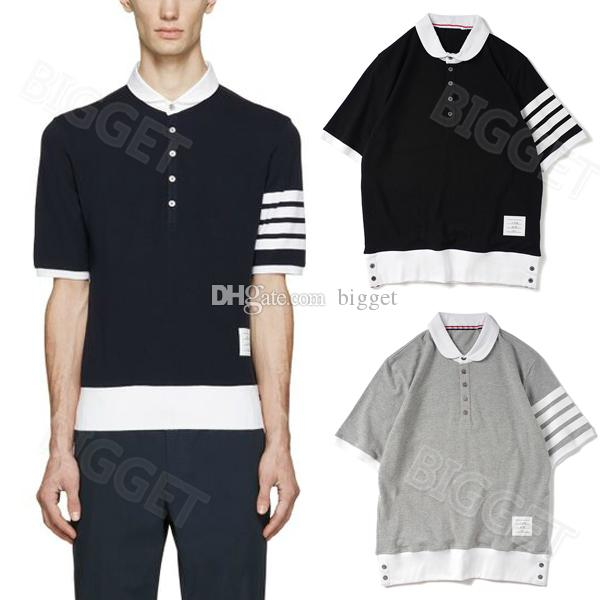 2 Colors Men Fashion Polular Polo Shirt With Sleeve Striped Short Sleeves Trim Fit Cotton Polos Top Male
