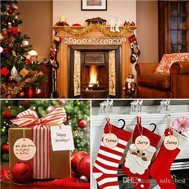 Christmas Decoration Pendants Round Wooden Board Xmas Tree Drop Ornaments DIY Merry Christmas Decoration For Home Supplies
