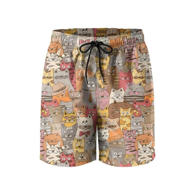 Corgi Bottom Mens Board Shorts Swim Mesh Lining and Side Pocket White