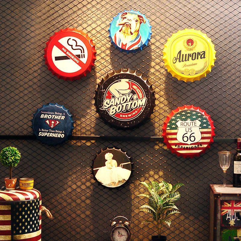 Dipinti Beer Bottle Cap whisky vintage placca di metallo Targhe in metallo Caffè Bar Pub Insegna decorazione della parete di nostalgia retrò rotonda poster da parete 35CM
