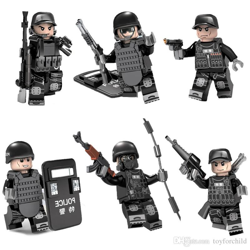 6pcs Lot MOC SWAT Action Figure with Weapons Military Special Forces Tactics Assault Policeman Building Block Bricks Toy for Kid Boy