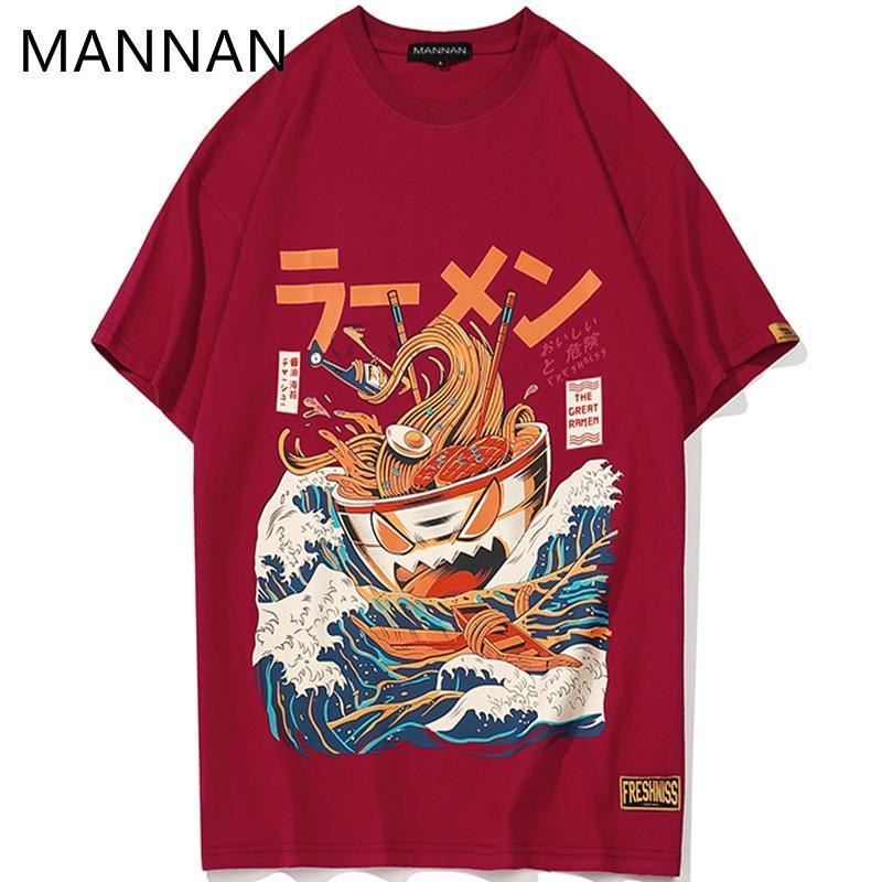 Маннан японский забавный мультфильм рамен хлопок печатных футболка мужчины 2018 летние хип-хоп мода с коротким рукавом уличная футболки Y19050701