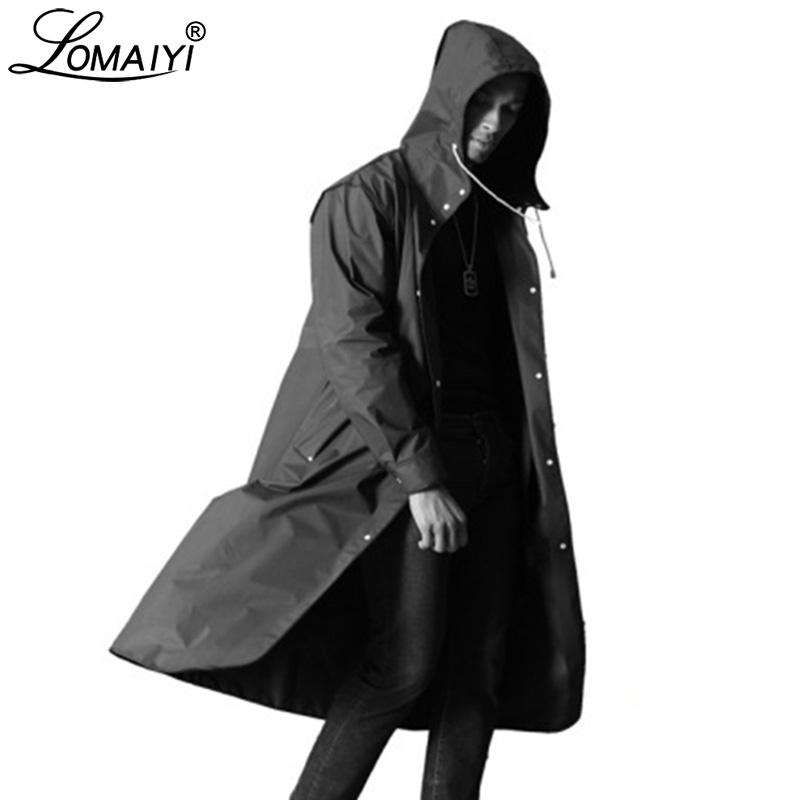 LOMAIYI Men's Waterproof Jacket Men Breathable Rain Coat Male Fashion Long Trench Coats Mens Letter Print Black Jackets AM364 T190829