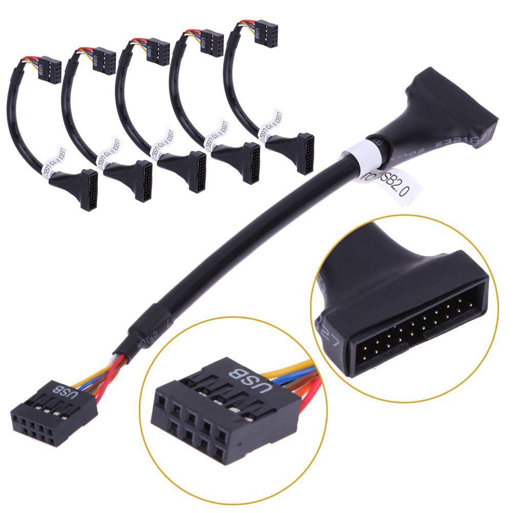 montón de ordenador Cables Conectores 5pcs flexible USB3.0 de 20 pines macho a USB 2.0 9PIN placa base cable femenino Uso Para CD-ROM de la unidad de disquete ...