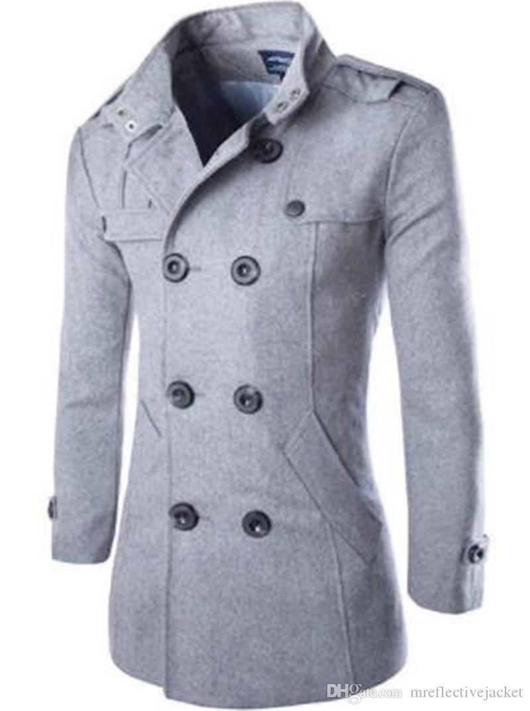 Erkekler Lüks Tasarımcı Ceketler Moda Eğilim Yün Ince Uzun Kollu Standı Yaka Erkek Mons Casual Giyim Düğmesi ile