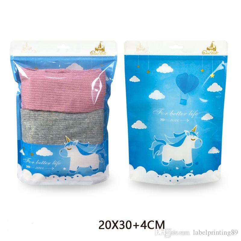 100pcs / lot haut de grade plat et stand bébé vêtement plastique stockage sac de rangement transparent fenêtre enfants chaussettes de fermeture à glissière auto-joint