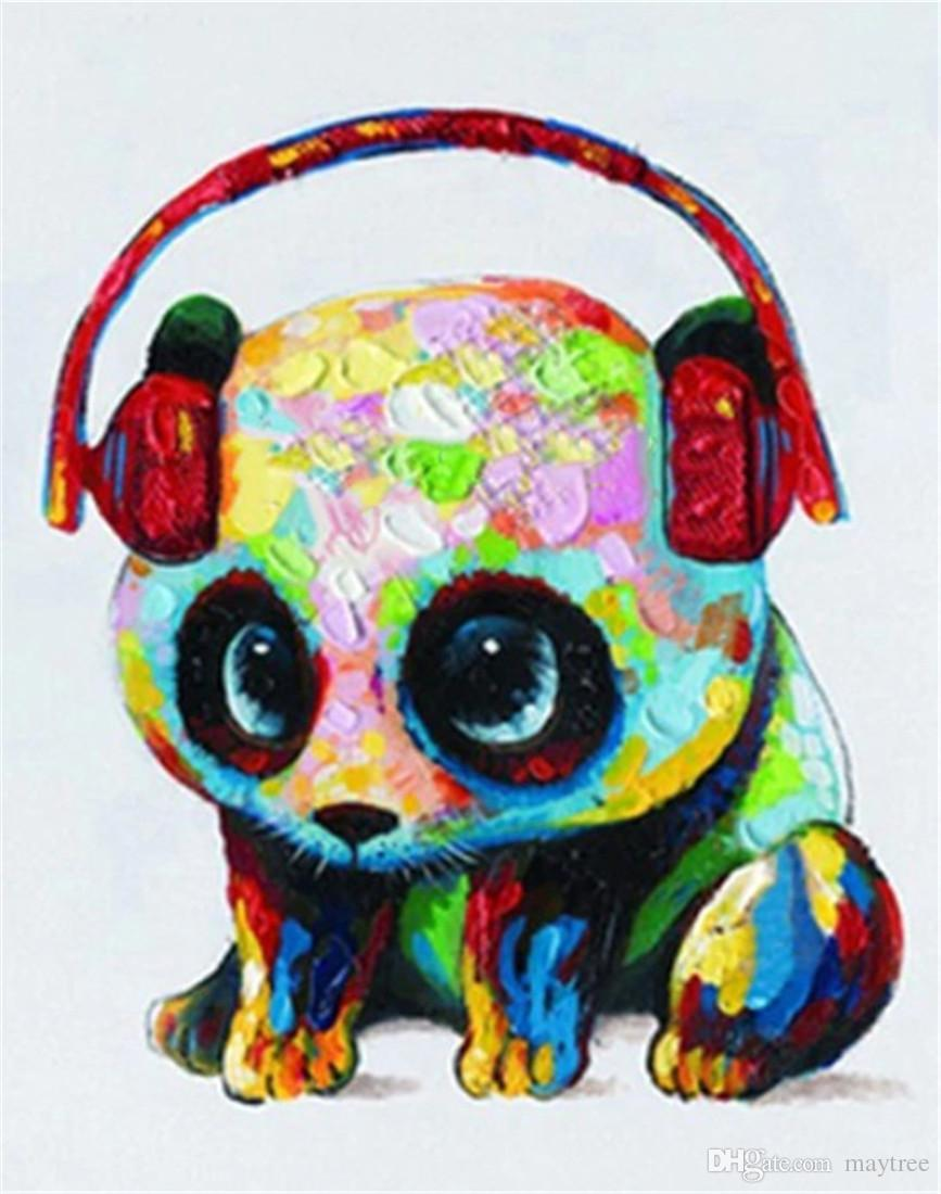 Digital Oil Painting DIY Oil Painting Home Wall Decor Festival Gift -Panda with Headphones 16x20 inch Paint by Numbers for Adults Beginner