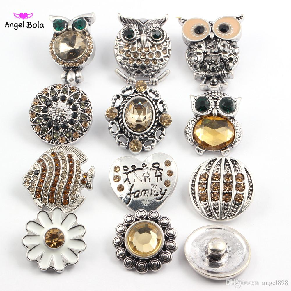wholesale 50pcs/Lot High quality mix styles Fashion 18mm metal rhinestone snap buttons fit noosa chunks Ginger bracelet Necklace earrings