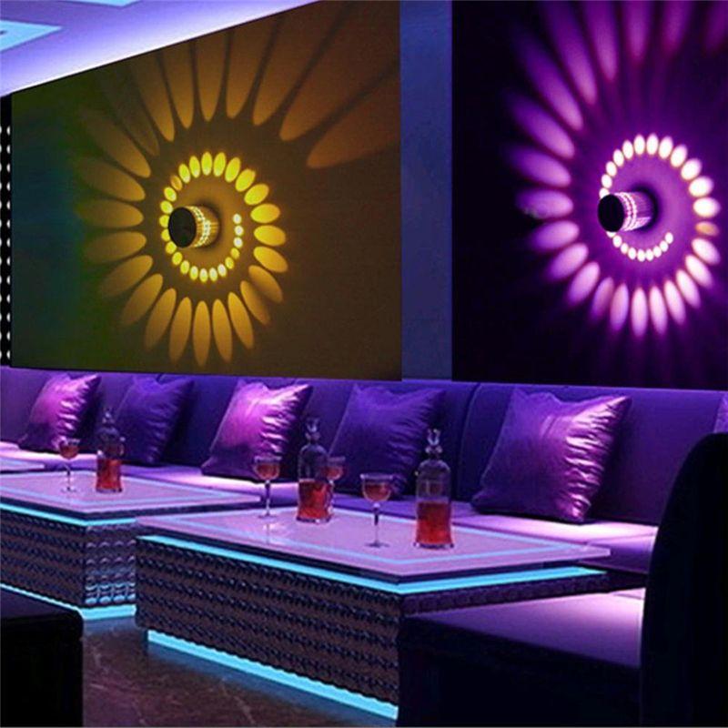 Parti Bar Lobi KTV Ana Dekorasyon için Renkli Uzaktan Kumanda ile RGB Spiral Delik Duvar Armatürleri Etkisi Duvar Lambası