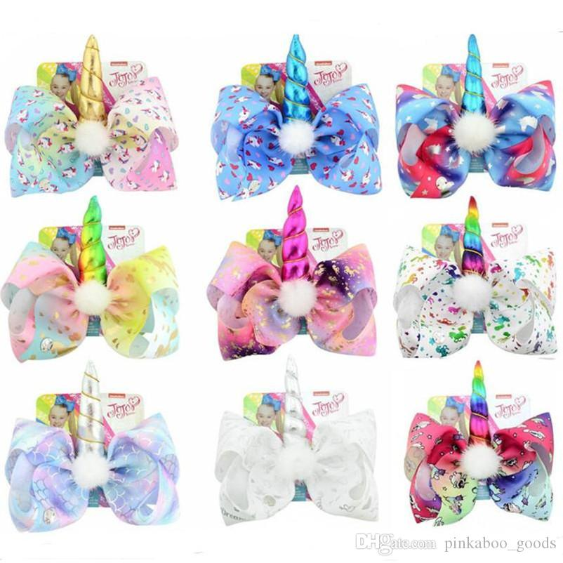 INS Jojo Siwa Unicorn Hairpin Girls Kids Bows Rainbow Color Cartoon Barrette Pin Baby Hair Clips with Paper Card Tag Hair Accessories A32704