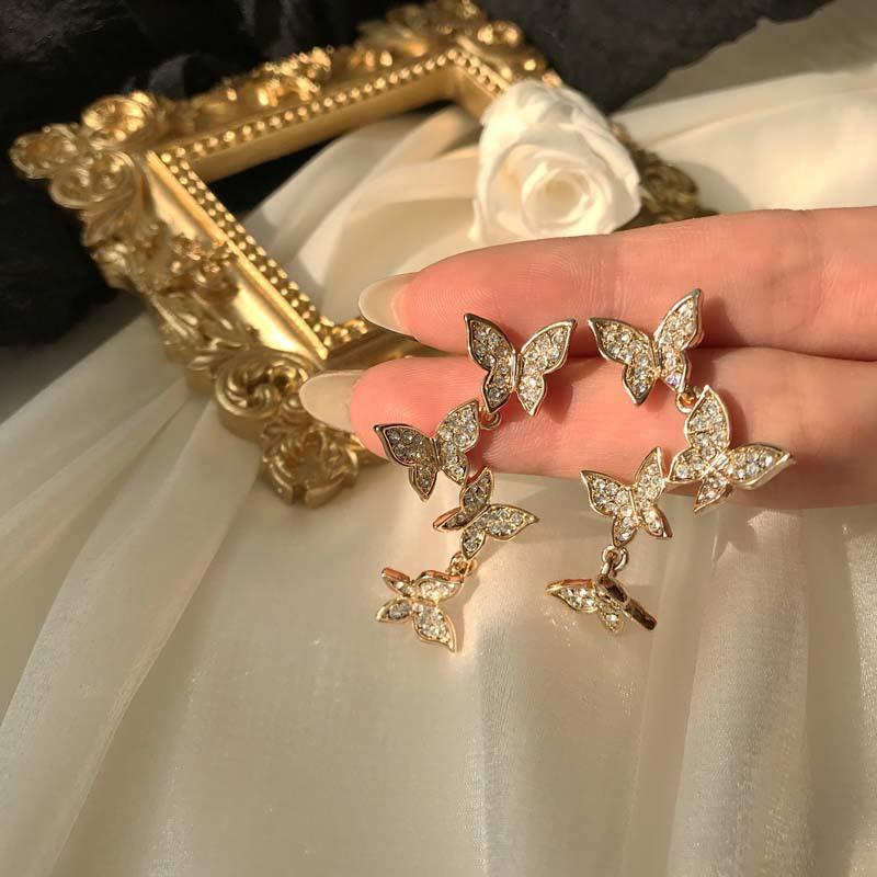 Xiaomeng Fan Borboleta Brincos Feminino Personalidade Super fada Gas Diamante Set clipe auricular sem Ear Buraco 925 Pin Brincos