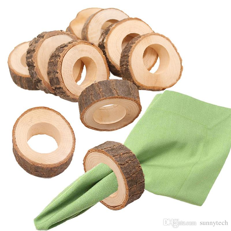 Natural Creative Wooden Unfinished Circle Wood Pendants Napkin Ring for Craft Making Hotel Table DIY Projects Wedding LX1226