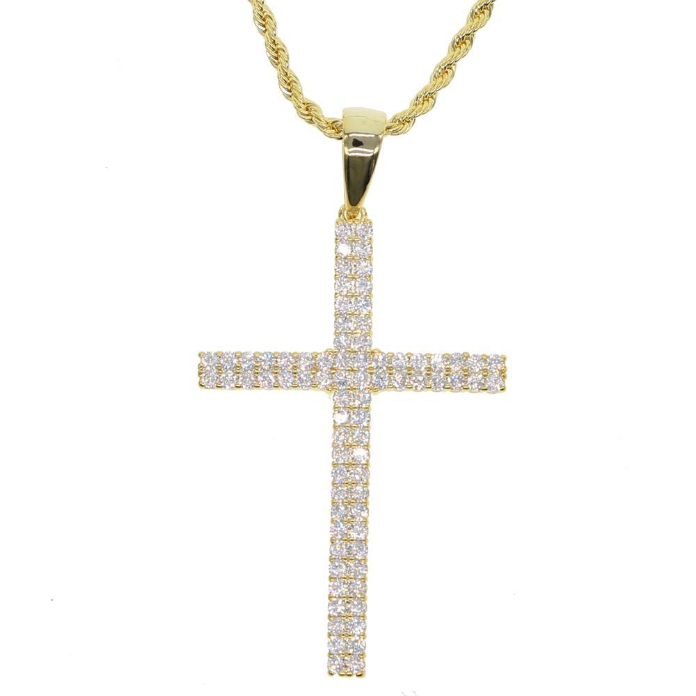 Cadeia colar de pingente Hip Hop cobre Cruz do ouro Cor religiosa para fora congelado CZ Colar BLING Jewely For Men gratuito cubana