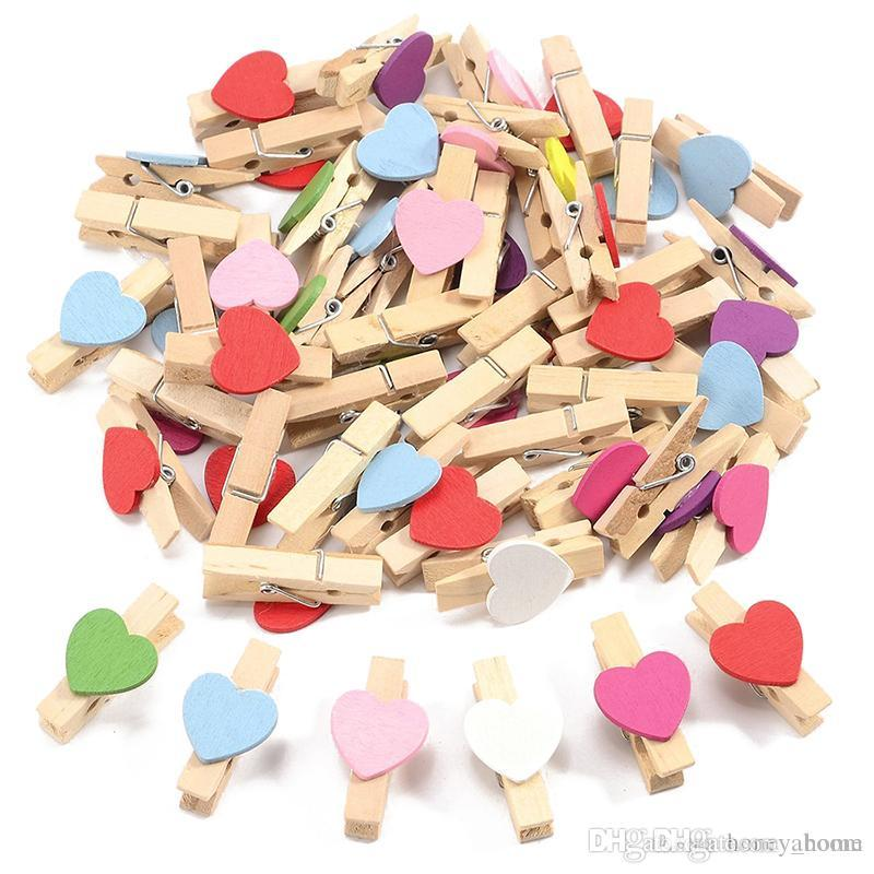 Mini Pegs 3.5cm Mixed Colour Small Wooden Clip Clamp DIY Crafts Decoration Cute