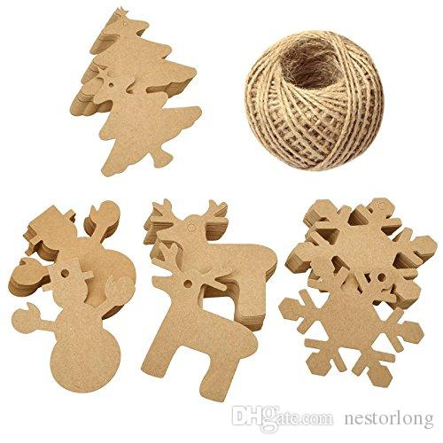 100pcs/set Christmas Gift Parcel Tags Xmas Tree Snowflake Deer Snowman Scalloped Kraft Paper Tag with Rope