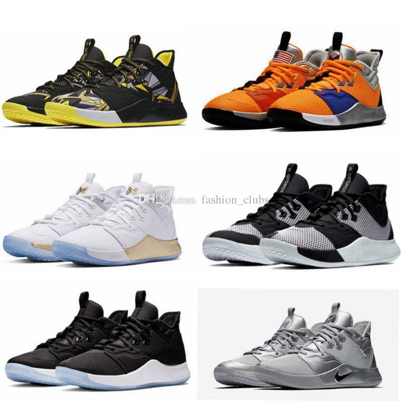 2019 Com Box PG 3 NASA 50 Reflective Prata Men Basketball Shoes PG3 3s Silver Metallic mandarim Pato Paul George Shoes O envio gratuito