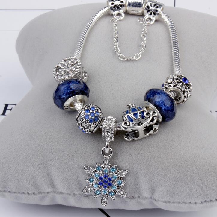 Atacado-neves abóbora carro pendurado pulseira Blue Star único europeu Pingente Acessórios Bangle Valentine presente DIY jóias de casamento