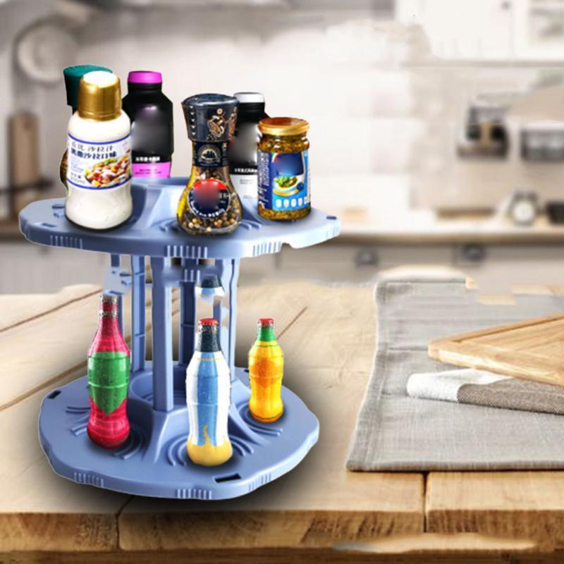 Erişim Spice Easy Mutfak Organizatör Depolama 360 Derece Döner Çift katmanlı Raf baharat Raf Konserve P666 Rack