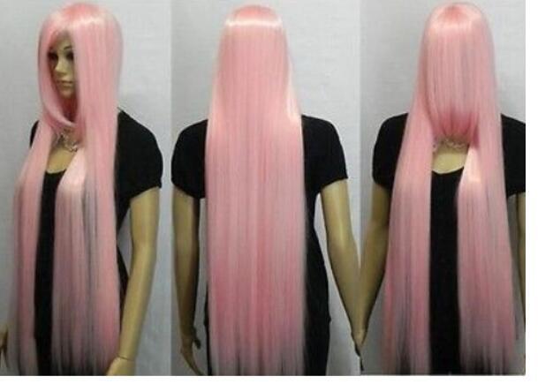 FREE SHIPPING + 100cm 가볍게 연분홍 예쁜 각선미 합성 머리 가발 전체 가발