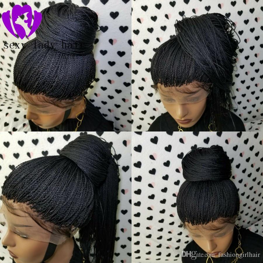 자연 헤어 라인 블랙 여성 전체 Handtied 마이크로에 대한 드리다 가발 브레이드 레이스 프런트 가발 트위스트 아기 머리 가발을 꼰