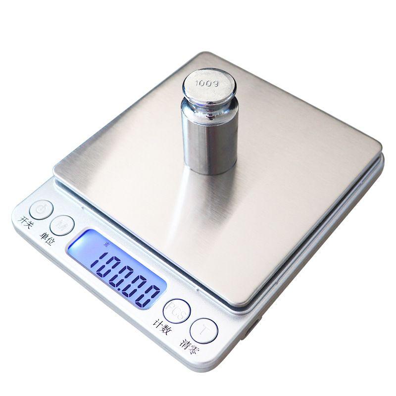 recargable portátil Banco Domésticos de Cocina Balanzas Digitales joyería balance del peso de equilibrio electrónico de peso de oro de bolsillo + Bandejas