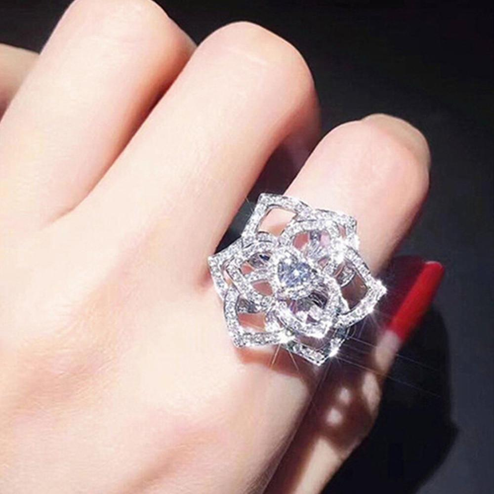 CZ zircon diamonds big heart&flower ring for women 18k white gold bling fashion wedding engagement band bride jewelry party gift