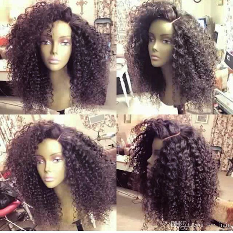 Full Lace Wigs Human Hair Malaysian Virgin Hair Afro Kinky Curly Glueless Lace Front Wigs high Density Unprocessed Hair free shopping