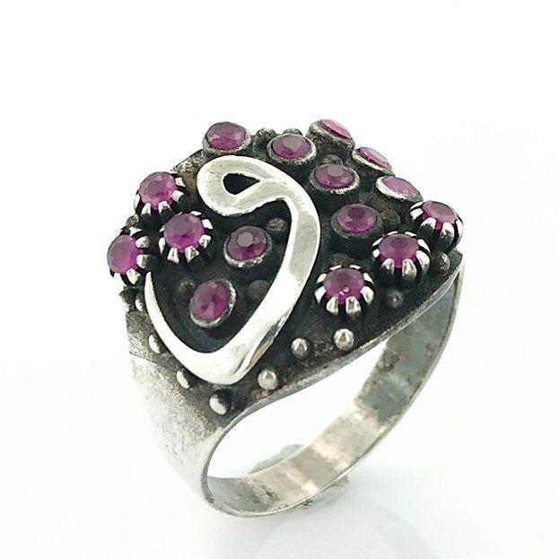 Стебель рубиновый камень Vav письмо серебро подлинный кольцо