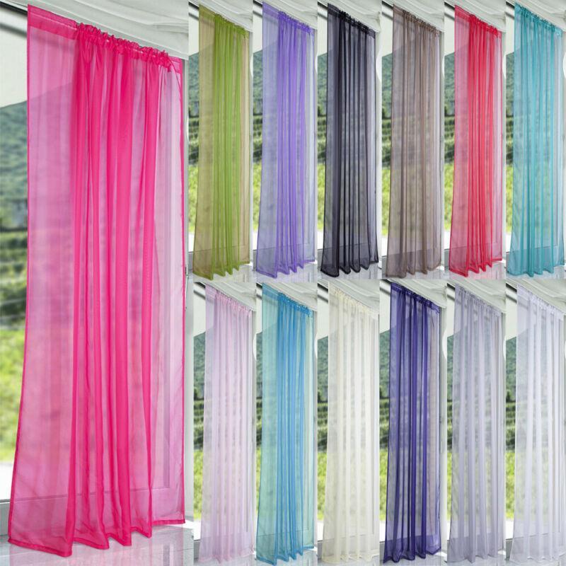 1PC Pure Color Tulle Porta tenda della finestra Pannello di Drape Sheer sciarpa Mantovane Curtain Drape finestra Pannello di rete pura Tulle Hot
