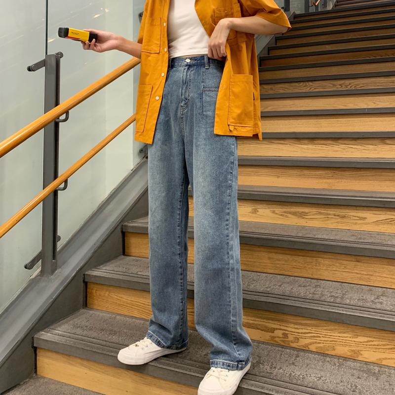 Donne coreane uomo mamma vita alta Jeans pantaloni Fidanzato Moda allentato Denim Pant vintage casuale solido blu Streetwear Harajuku