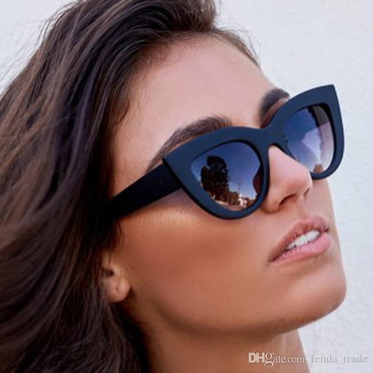 DHL schnelle 50 stücke NEUE HEIßE Neue Frauen Katzenauge Sonnenbrille Matt Schwarz Markendesigner Katzenaugen Sonnenbrille Für Weibliche schlagbrillen UV400
