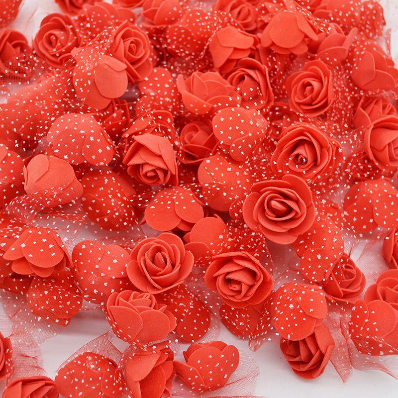 50pcs/lot 3.5cm Mini Pe Foam Rose Heads Artificial Silk Flowers For Home Garden Diy Pompom Wreaths Wedding Decor Supplies C19041803