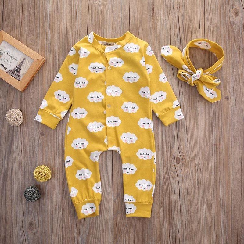 Baby Kids Girls Romper Set White Cloud Long Sleeve Romper Jumpsuit cotton+ Headband 2pcs Outfit Infant Kids Clothes