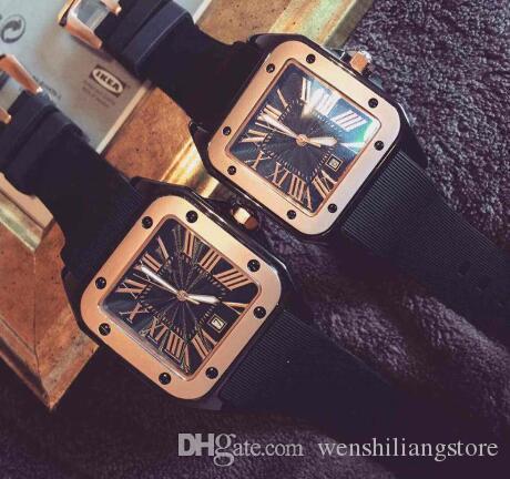 Chaude Simple carré Hommes Femmes De Luxe Montres Top Marque Casual Montre Robe quartz Montre Rome numéros Montres pour hommes dames relojes horloge