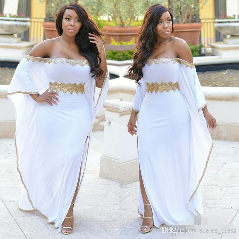 2020 Plus Size Weiß Abendkleider Gold-wulstige SpitzeApplique weg von der Schulter-Seiten-Schlitz-Abend-Kleider nach Maß Black Girl Formal Wear