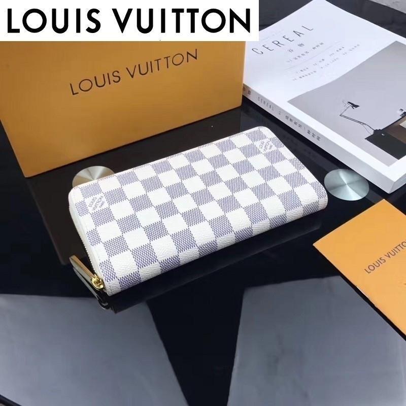 huweifeng1 الأبيض المزجج سلسلة محفظة N60019 WOMEN ريال الجلدية الطويلة محفظة سلسلة WALLETS COMPACT محفظة CLUTCHES مساء مفتاح حامل بطاقة