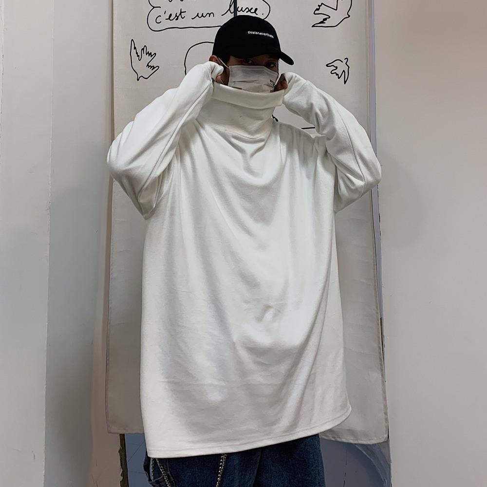Grundieren Shirt der Frauen Frühling und Herbst koreanische Version von In von Retro losem BF Wind-Stil Rollkragen-Langarm-T-Shirt Schwarzer Spitze