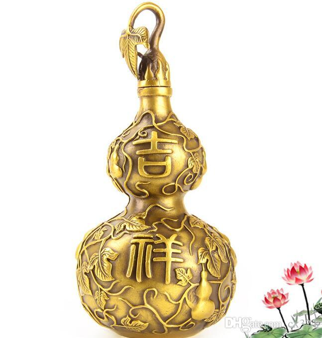 Pure copper auspicious wishful gourd Feng Shui ornaments open cover gourd ornaments home Feng Shui furnishings